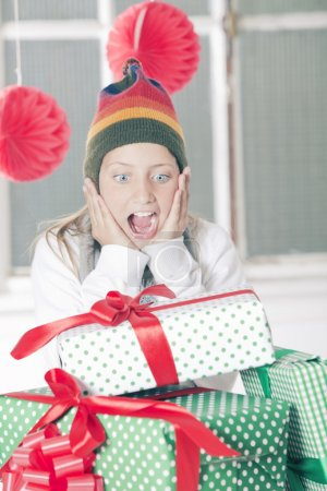 exited Girl with Christmas Gifts