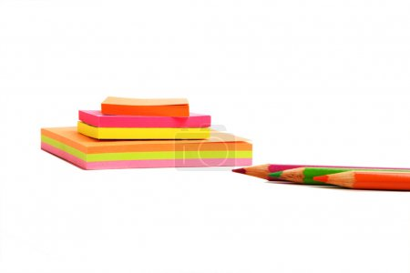 Sticky notes and pencils