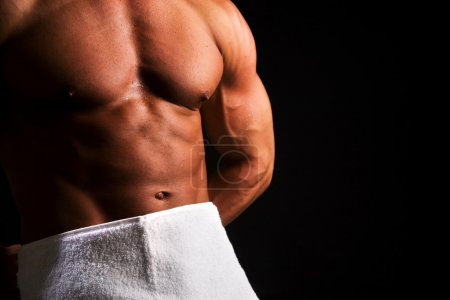 strong sportsman posing