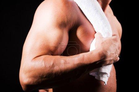 man holding towel