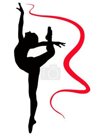 Illustration pour Sport gymnaste fille bande saut - image libre de droit