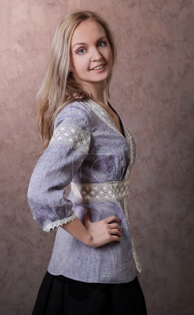 Russian blond girl smiling