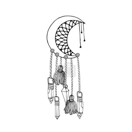 Illustration for Vintage half moon dreamcatcher with crystals and tassels. Boho decoration ring illustration - Royalty Free Image