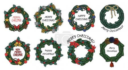 Illustration for Colorful Line Art Christmas Wreaths clipart set, decorated spruce green branches collection. Isolated on white background - Royalty Free Image