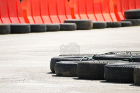 Race track barrier made of an old  tires for safety concept