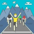 Modern Illustration of cyclists on finish line. Co...