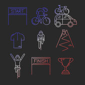 Set of 9 Bicycle Race modern linear icons