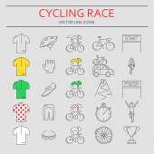 Set of 25 Cycling Race modern linear icons