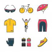 Set of 9 Bicycle Race modern colorful icons