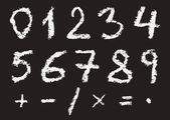 Hand written chalk numbers