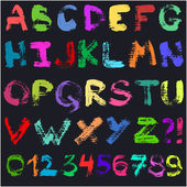 Hand drawn gouache alphabet Handwritten multicolor colorful font isolated on black background Contains uppercase letters numbers and question and exclamation marks Real paint texture
