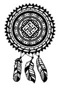 Round amulet with ethnic patterns