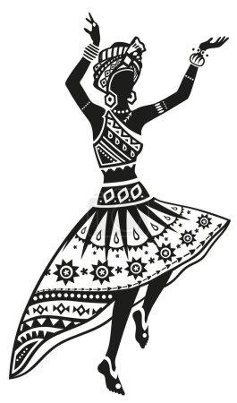 Illustration pour Femme africaine danse rituel danse dans le costume national lumineux - image libre de droit