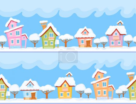 Winter houses and trees