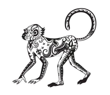 Ethnic stylized monkey figure in festive pattern...