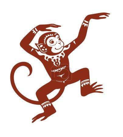 The stylized figure of an monkey in the festive pa...