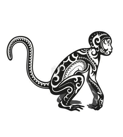 Stylized figure of  monkey animal pattern...