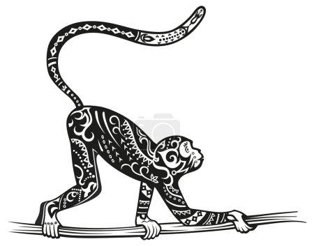 Stylized figure of  monkey in the festive patterns...