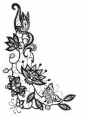 Abstract lace with elements of flowers and butterflies