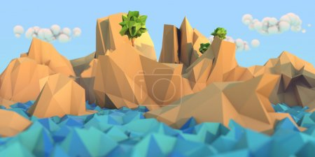 Photo for Image of sea and mountains with trees in the low poly style - Royalty Free Image