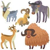 Cartoon ungulate animals set