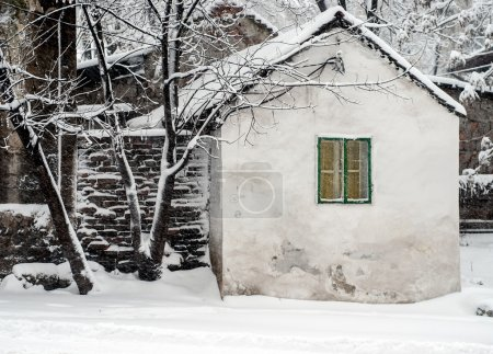 House covered snow