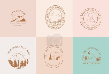 Illustration pour Collection of Modern, Outdoorsy, Earthy linear logos, symbols, icons design template with nature, tree, plant, animals, architecture elements. Editable vector logotype. - image libre de droit