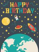 Happy Birthday card with space theme