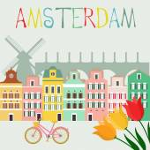 Amsterdam city card with landmarks