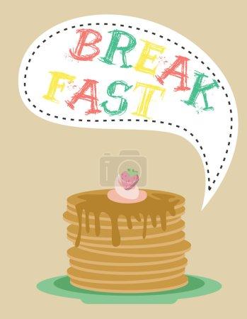 Illustration pour Set de nourriture pour petit déjeuner avec icônes alimentaires diffrentes - image libre de droit