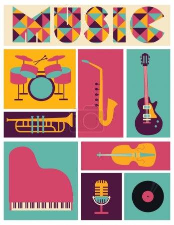 Illustration pour Ensemble d'instruments de musique pouvant servir à créer des icônes, des cartes, des affiches pour des concerts et des festivals - image libre de droit