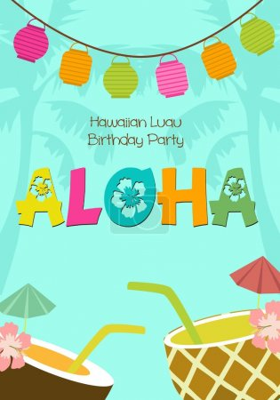 Illustration for Aloha party invitation for birthday party - Royalty Free Image