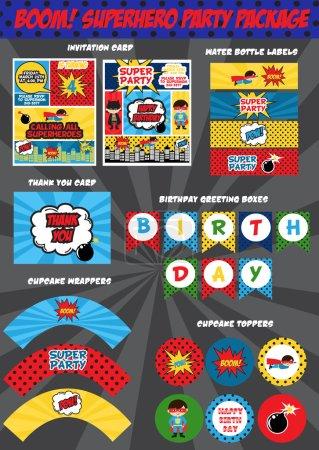 Super hero birthday invitation card