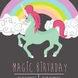 Birthday card for magic party with unicorn...