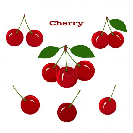 Illustration for Set of juicy cherry fruits on a white background - Royalty Free Image
