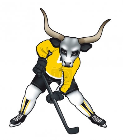 Vector illustration of a bull mascot for ice hockey team or .