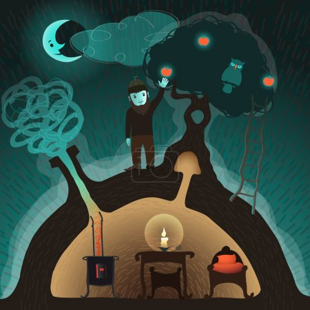 Illustration for Little goblin or gnome bring down an golden apple on his own earth house in a fabulous ambiance - Royalty Free Image