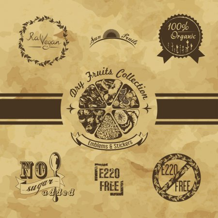 Dry fruits stickers