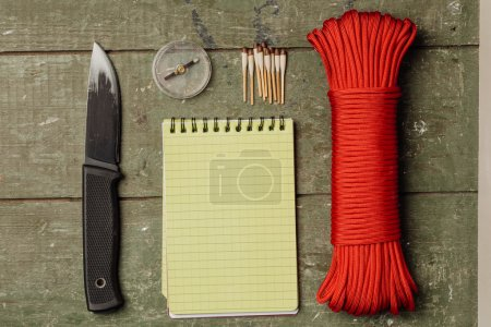 Overhead view of survival gear equipment