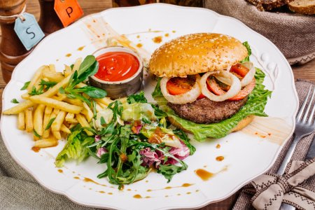 burger on sesame buns with succulent beef patties and fresh salad