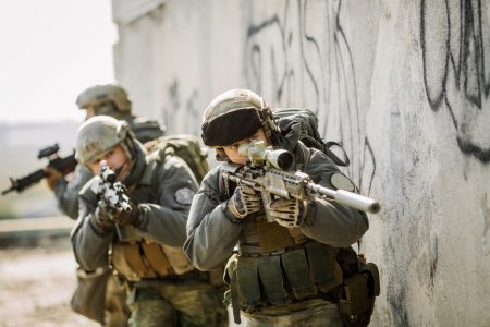 Soldiers stormed the building captured enemy