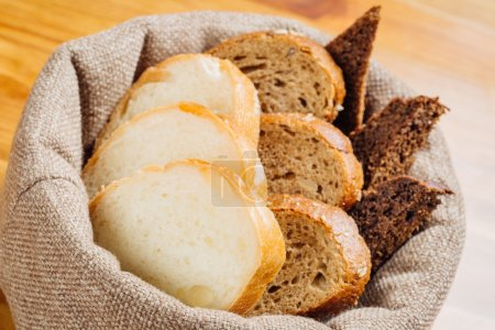 Different types of bread in the basket on the table