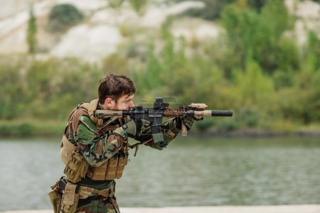 rangers to aim and shoot at a target with automatic weapons