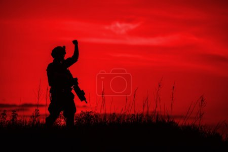 Silhouette of soldier with rifl
