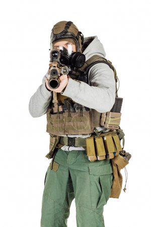 rebel with gas mask and rifles against a white background