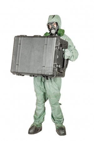 Man with protective mask and protective clothes prepares equipment for work