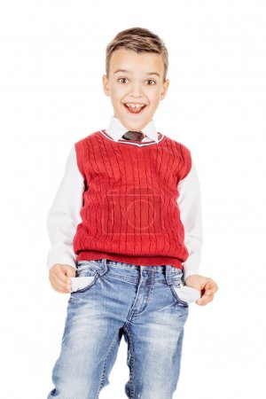 boy  with empty pockets against on white studio background.