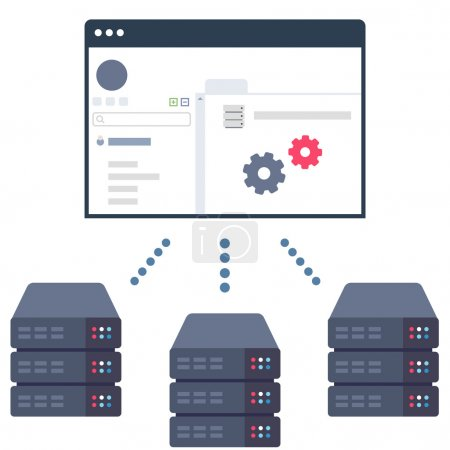 Illustration for Vector Illustration of a Software Solution which Allows Users to Control Their Server Equipment in Data Centers - Royalty Free Image