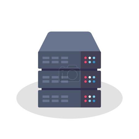 Illustration pour Illustration vectorielle de style plat ou icône d'un rack serveur - image libre de droit