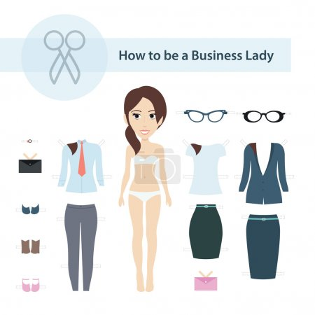 How to be a Business Lady Vector Set